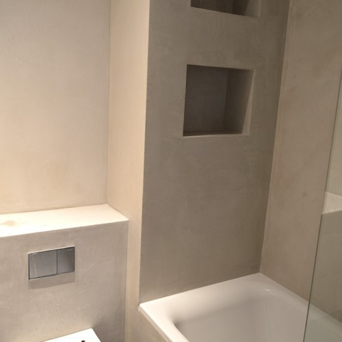 Long lasting, water resistant plaster finish is a sound choice for any bathroom