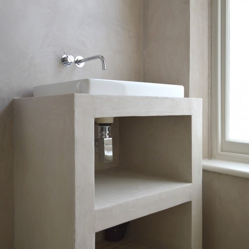 Custom built washstand with a stunning waterproof plaster finish